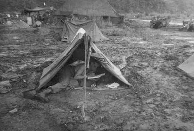Edward Kaiser In His Tent During Korean War